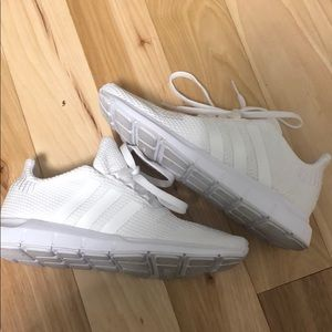 All white adidas size 3.5 kids (5.5 women's)